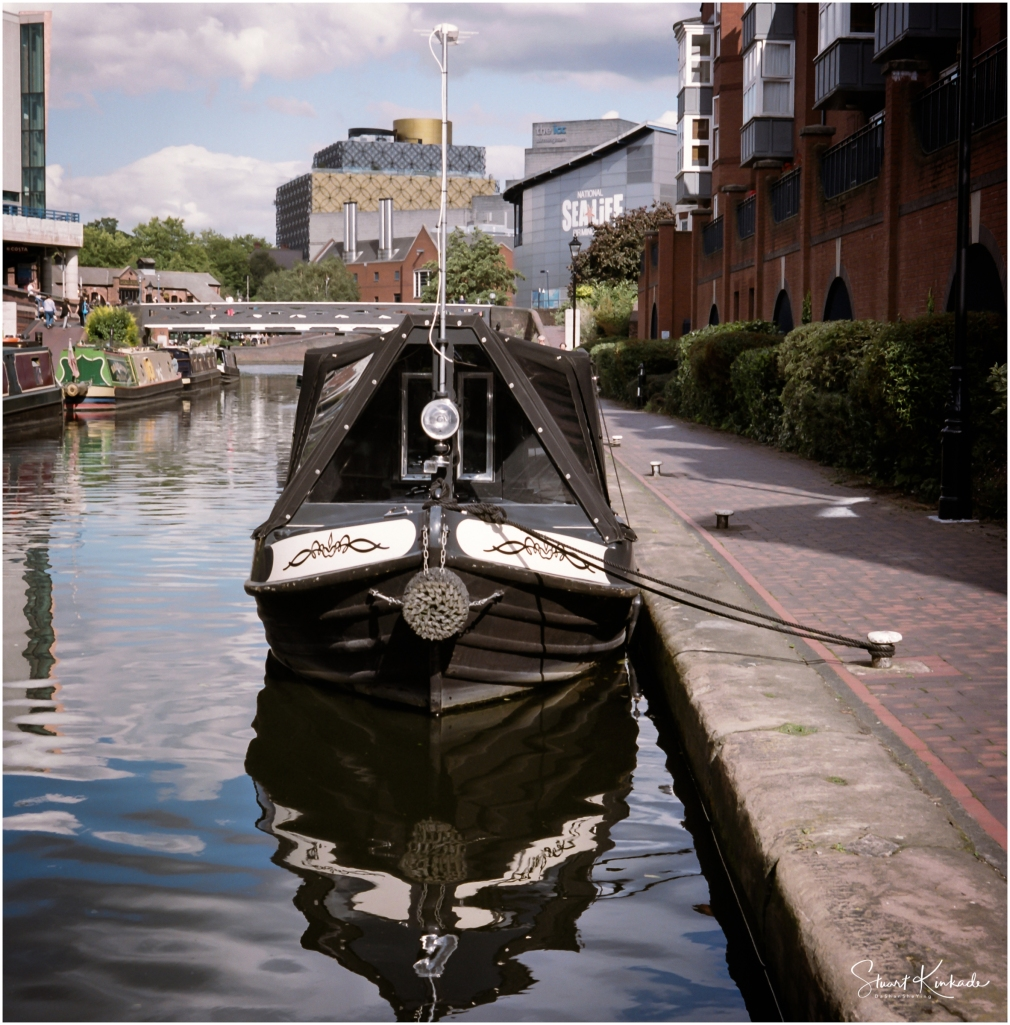 Narrow, long Canal Boat in Birmingham