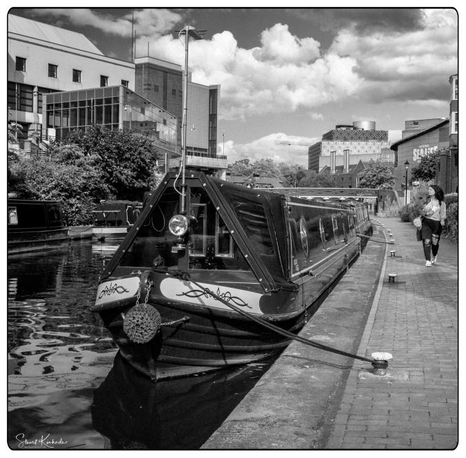 Canal Boat in B&W